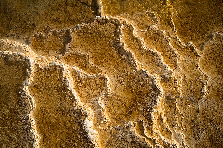Travertine terrace, Mammoth Hot Springs. Yellowstone National Park.  ()